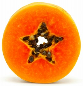 papaya, sliced, star, seeds