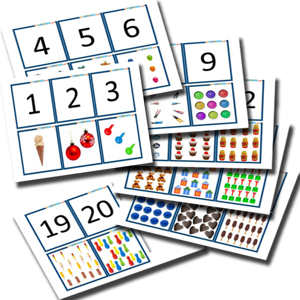One to Twenty Number &amp; Quantity Flash Cards