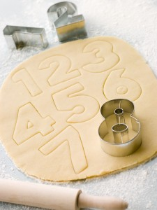 Cutting out Number Shape Biscuits